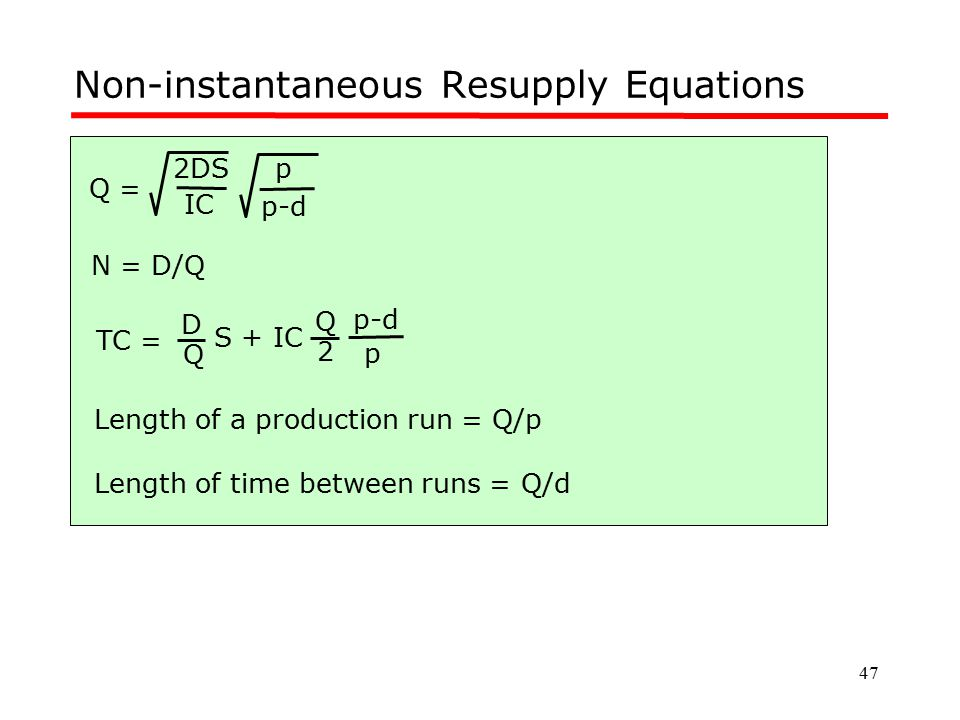 Non-instantaneous Resupply Equations