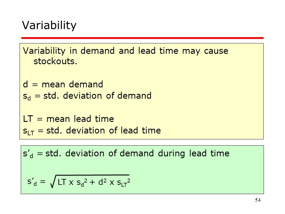 Variability Variability in demand and lead time may cause stockouts.