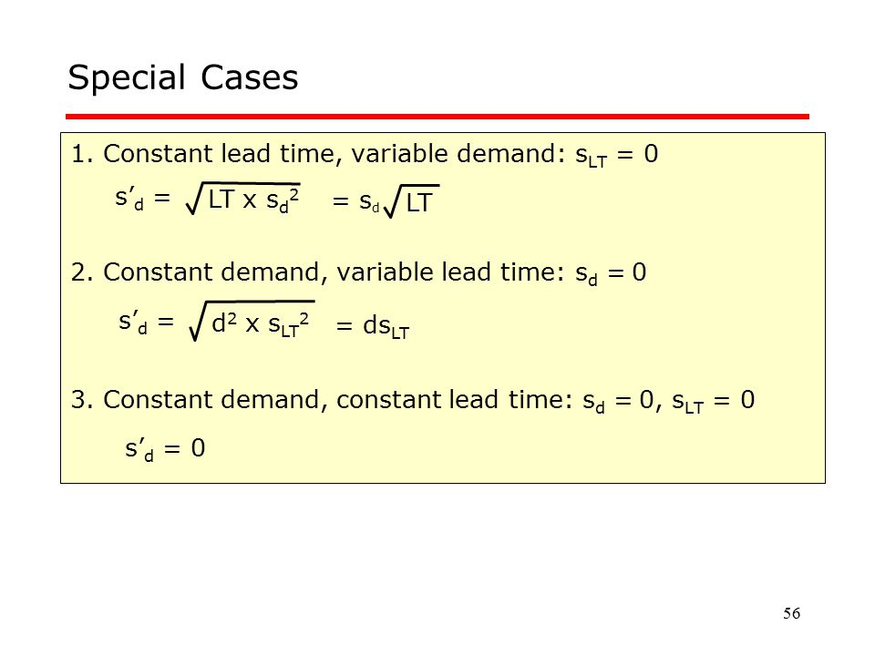 Special Cases 1. Constant lead time, variable demand: sLT = 0