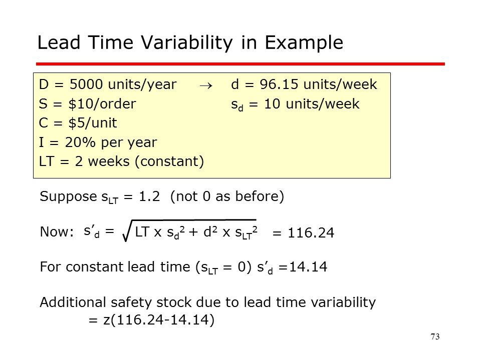 Lead Time Variability in Example