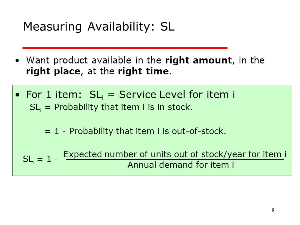 Measuring Availability: SL