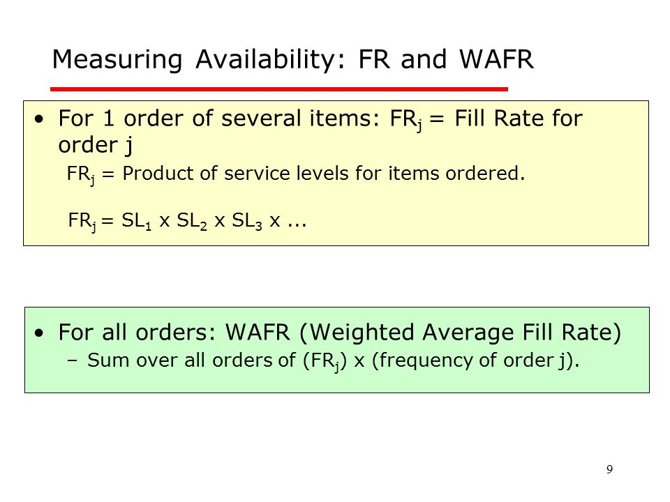 Measuring Availability: FR and WAFR