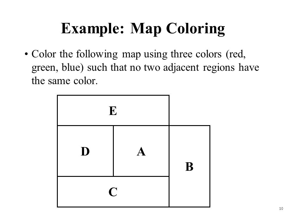 Example: Map Coloring E D A C B