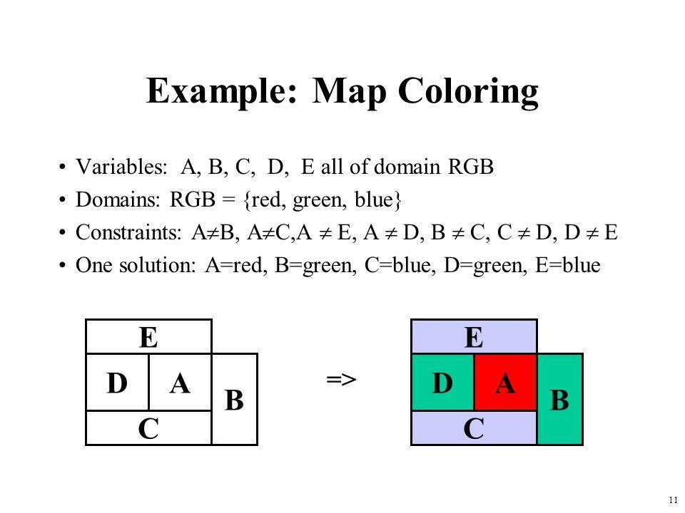 Example: Map Coloring E D A C B E D A C B =>