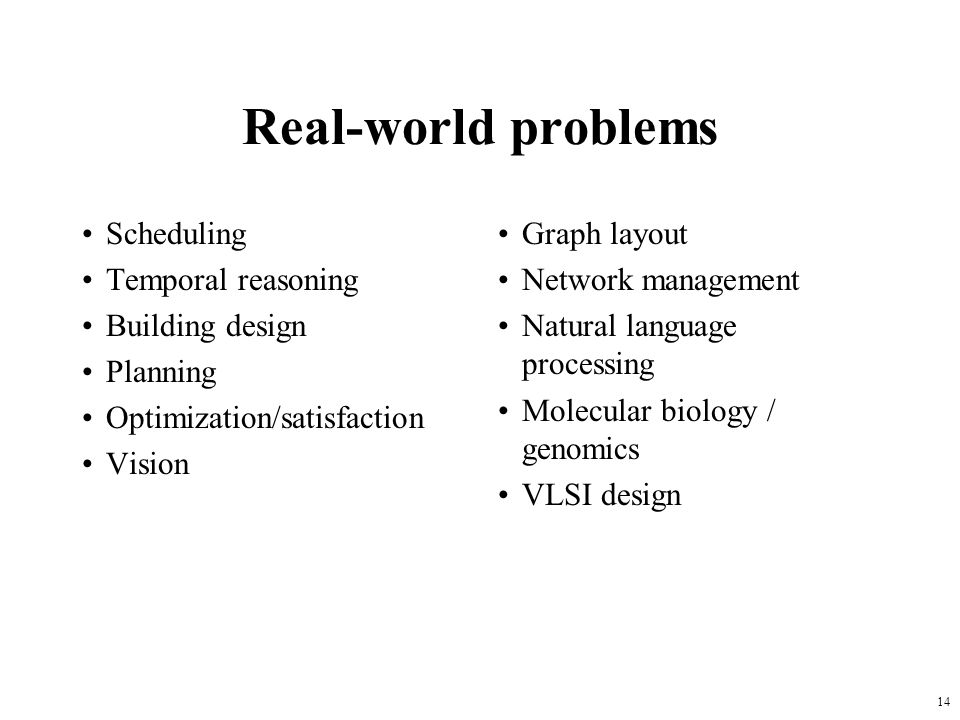 Real-world problems Scheduling Temporal reasoning Building design