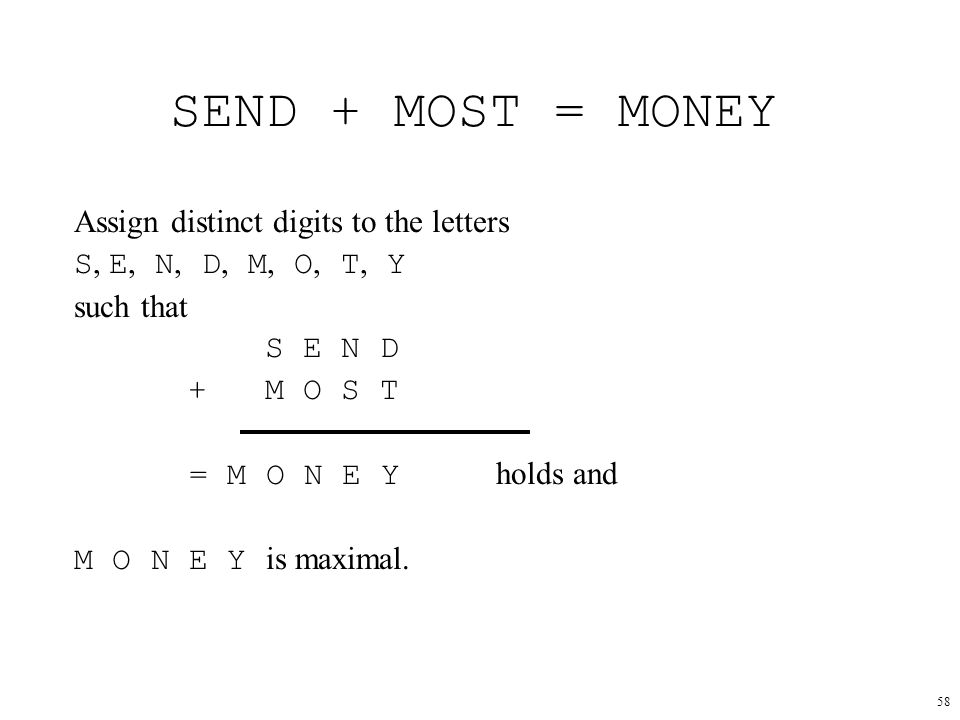 SEND + MOST = MONEY Assign distinct digits to the letters