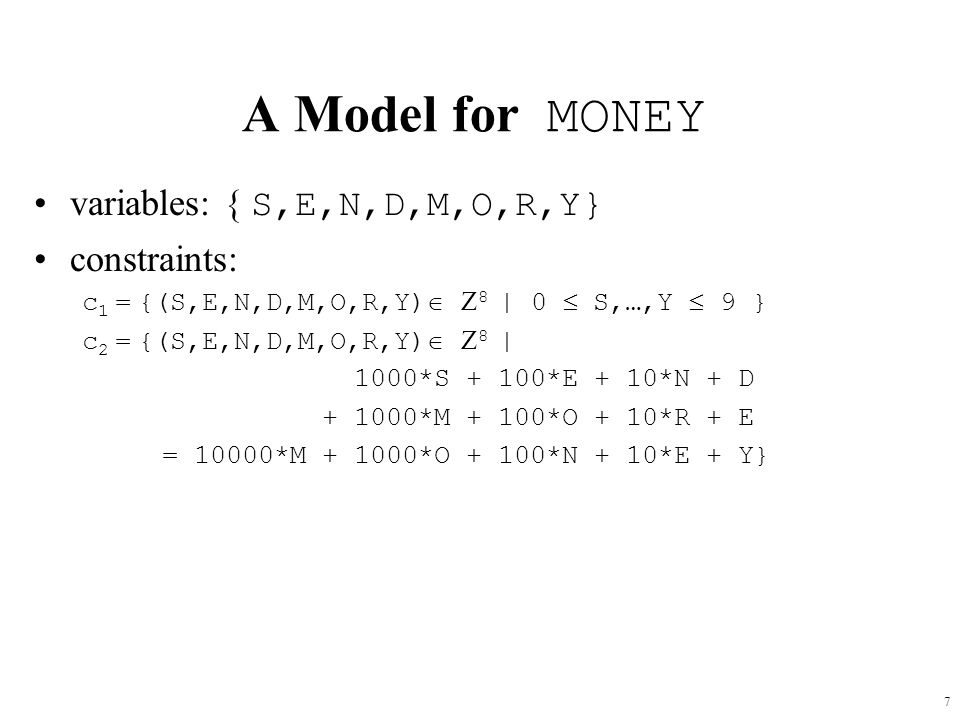 A Model for MONEY variables: { S,E,N,D,M,O,R,Y} constraints: