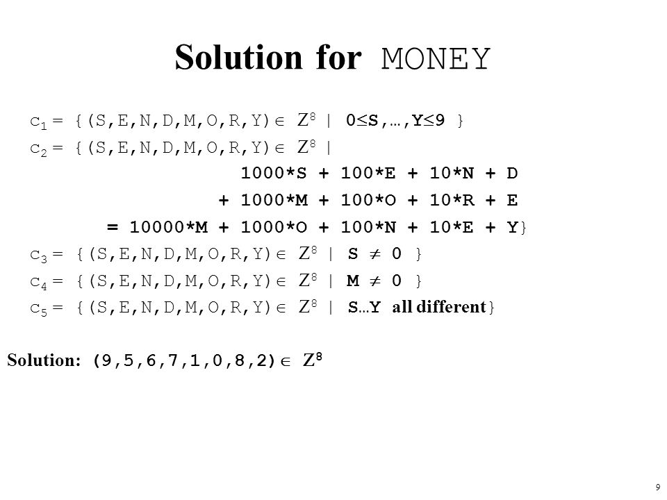 Solution for MONEY c1 = {(S,E,N,D,M,O,R,Y) 8 | 0S,…,Y9 }