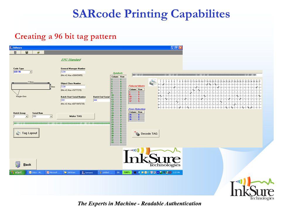 SARcode Printing Capabilites
