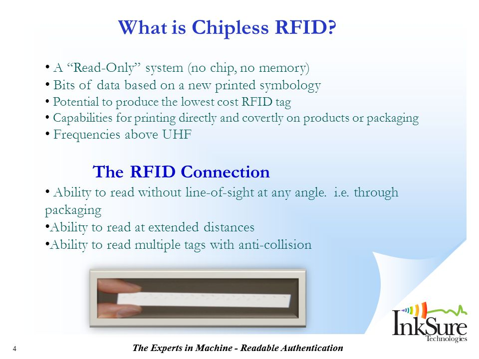 What is Chipless RFID A Read-Only system (no chip, no memory)