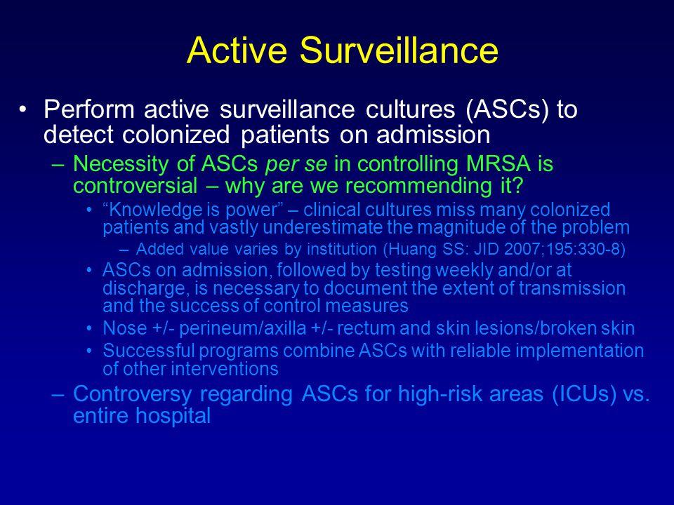 Active Surveillance Perform active surveillance cultures (ASCs) to detect colonized patients on admission.