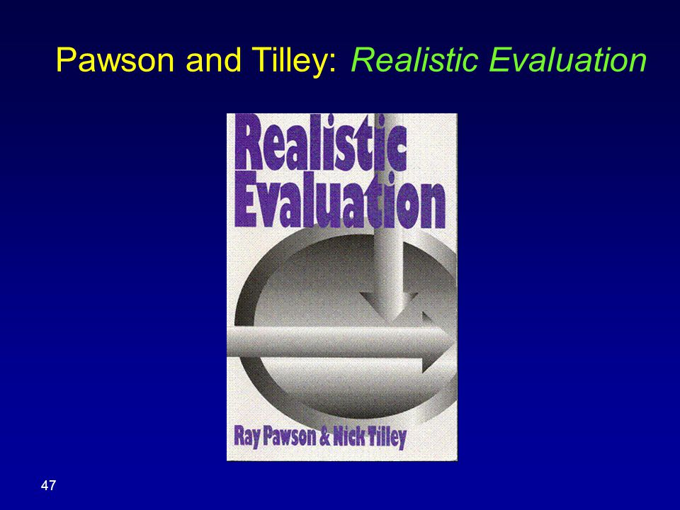 Pawson and Tilley: Realistic Evaluation