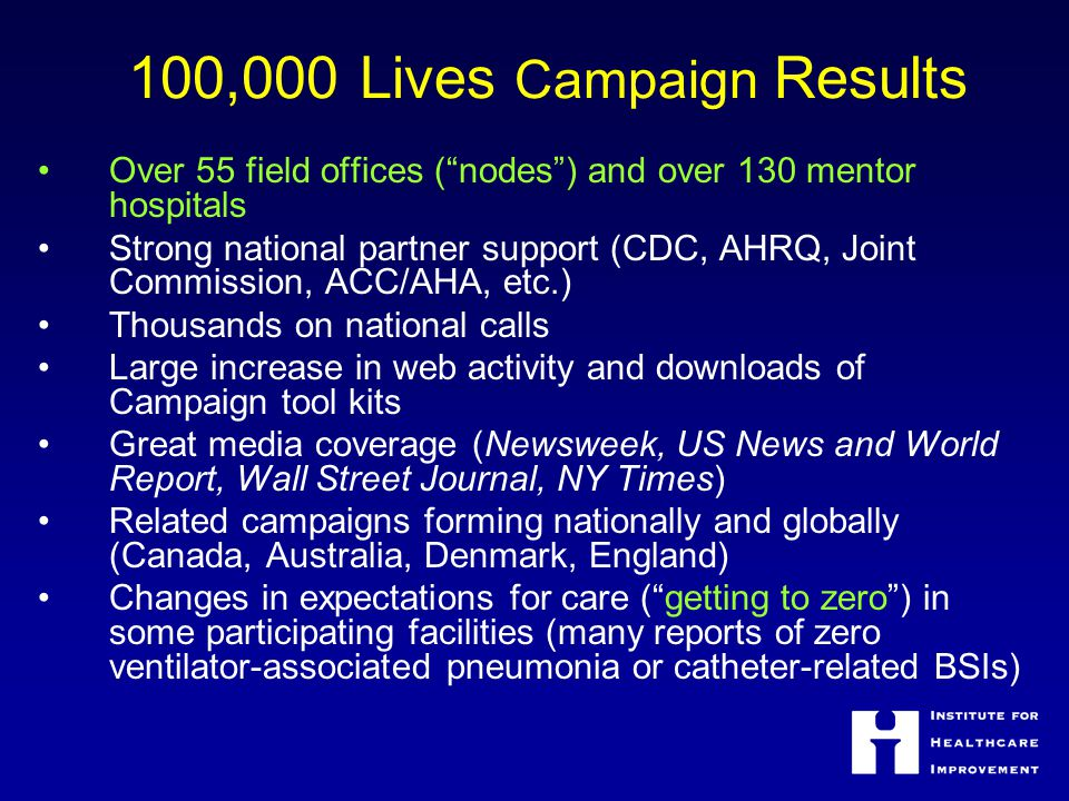 100,000 Lives Campaign Results