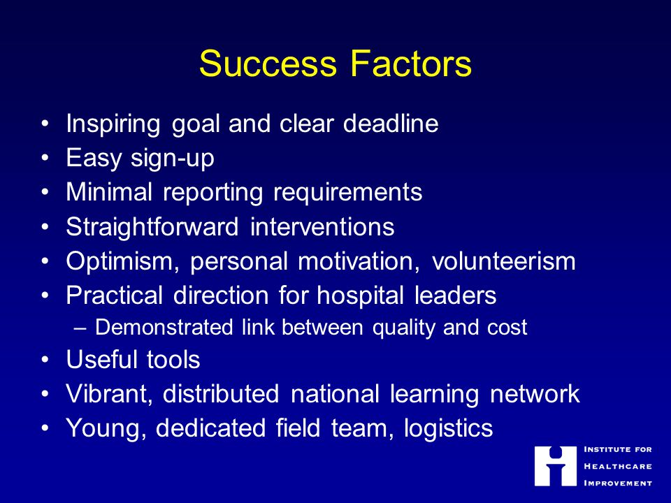 Success Factors Inspiring goal and clear deadline Easy sign-up