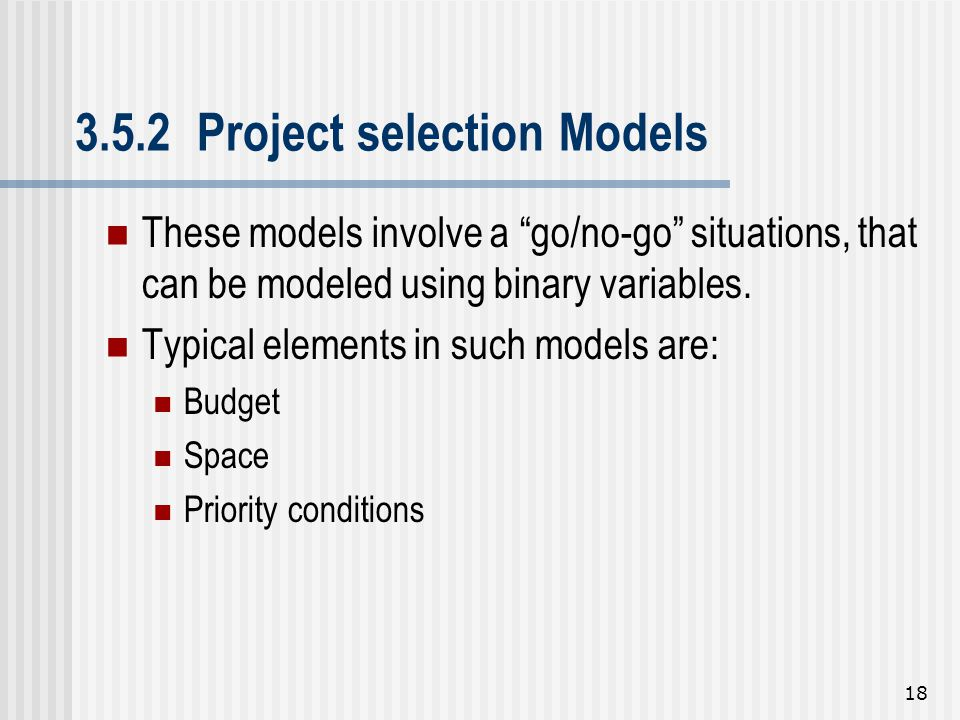 3.5.2 Project selection Models