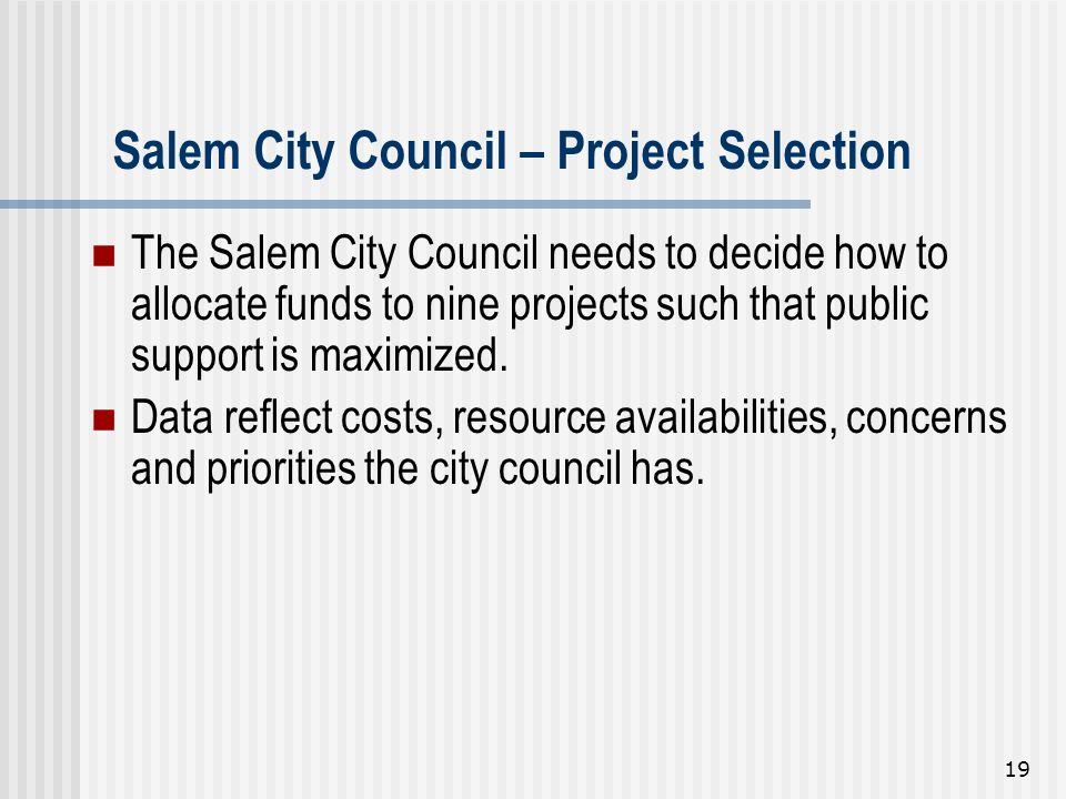 Salem City Council – Project Selection