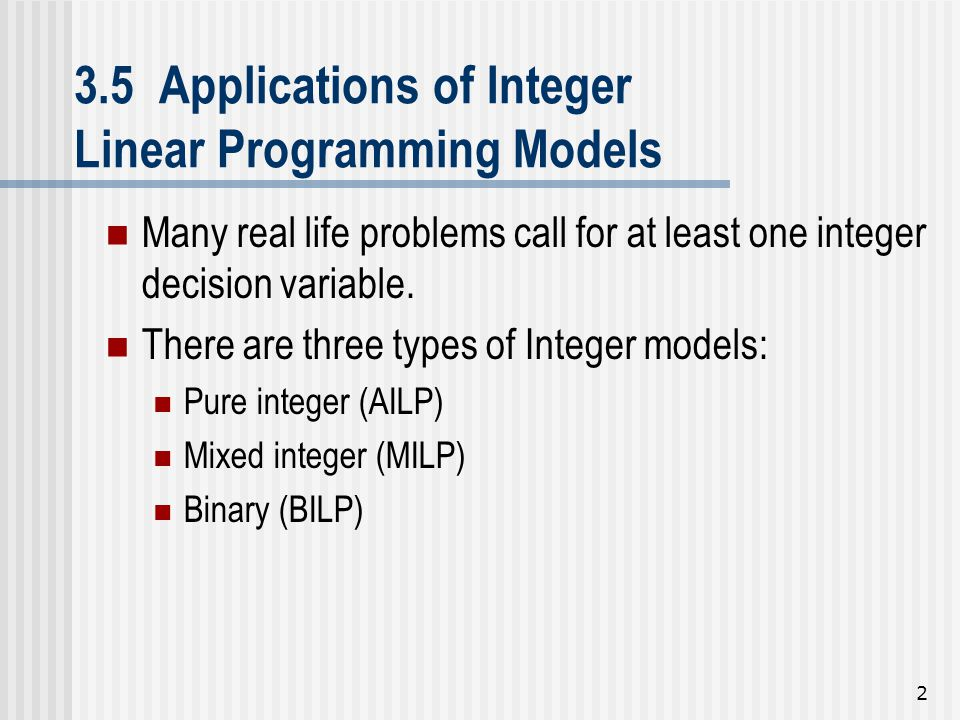3.5 Applications of Integer Linear Programming Models
