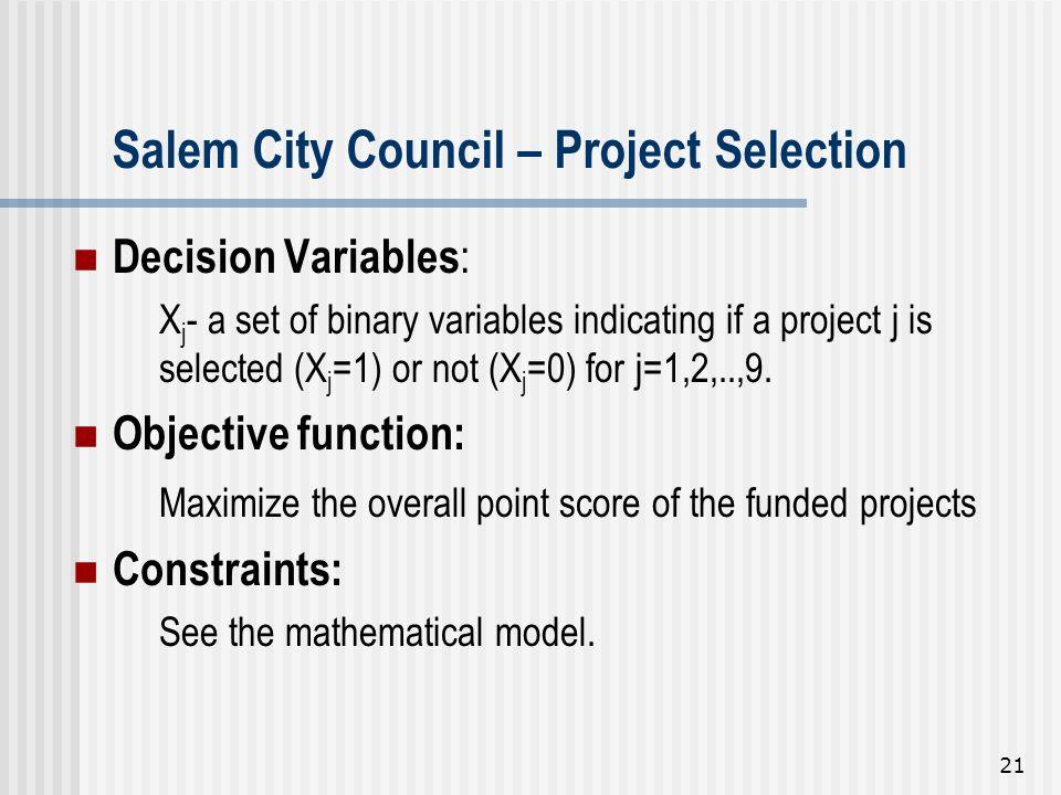 Salem City Council – Project Selection