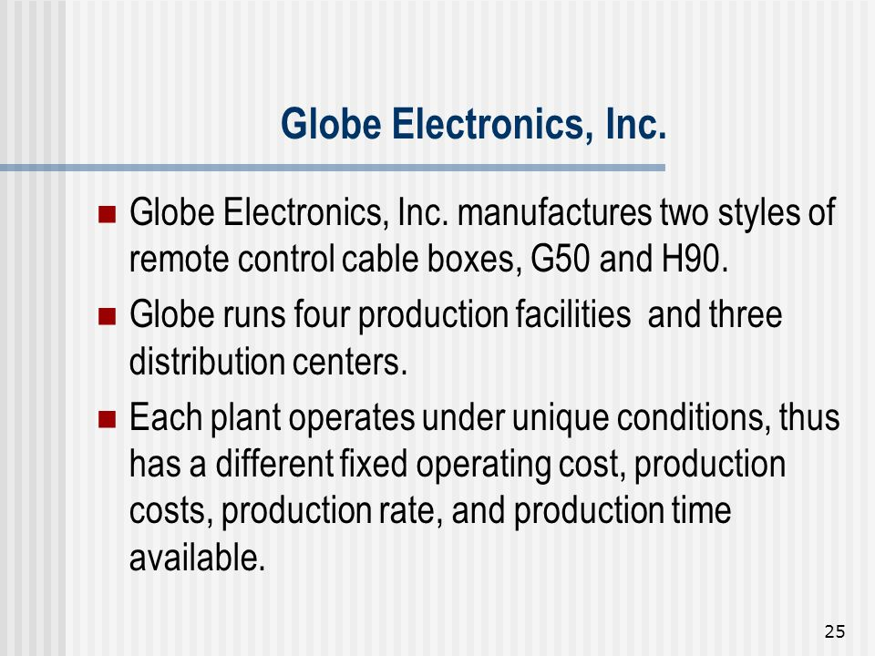 Globe Electronics, Inc. Globe Electronics, Inc. manufactures two styles of remote control cable boxes, G50 and H90.