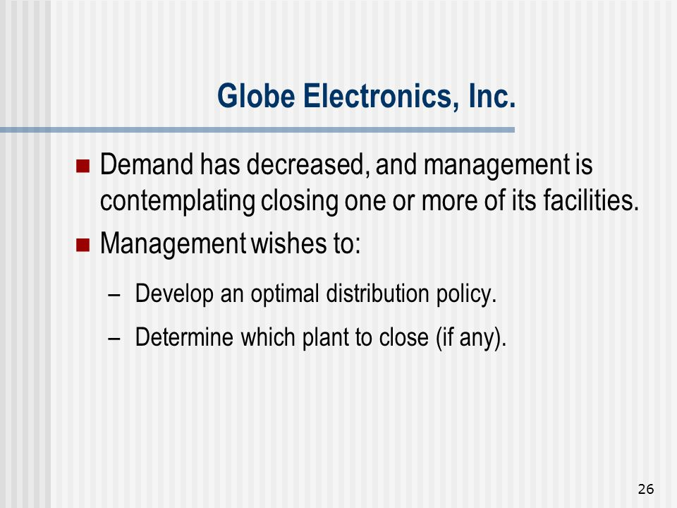 Globe Electronics, Inc. Demand has decreased, and management is contemplating closing one or more of its facilities.