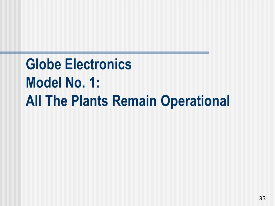 Globe Electronics Model No. 1: All The Plants Remain Operational