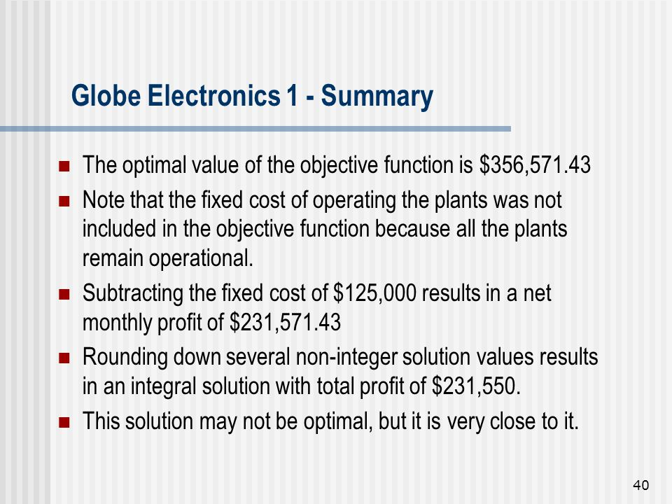 Globe Electronics 1 - Summary