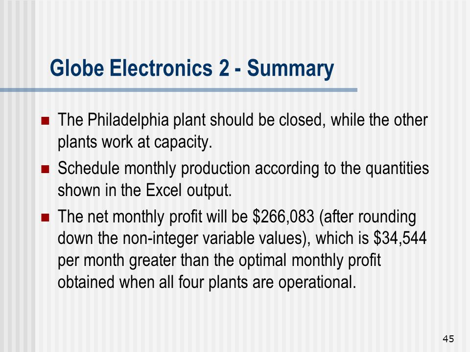Globe Electronics 2 - Summary