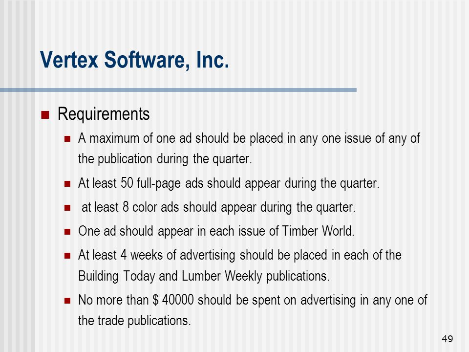 Vertex Software, Inc. Requirements