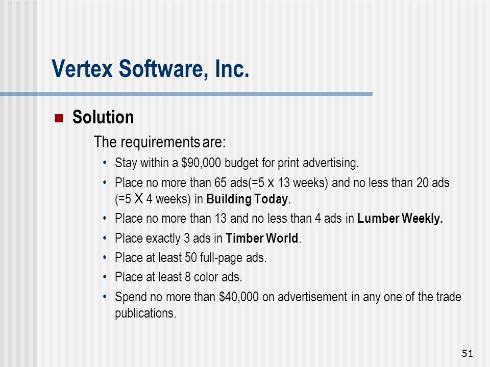 Vertex Software, Inc. Solution The requirements are:
