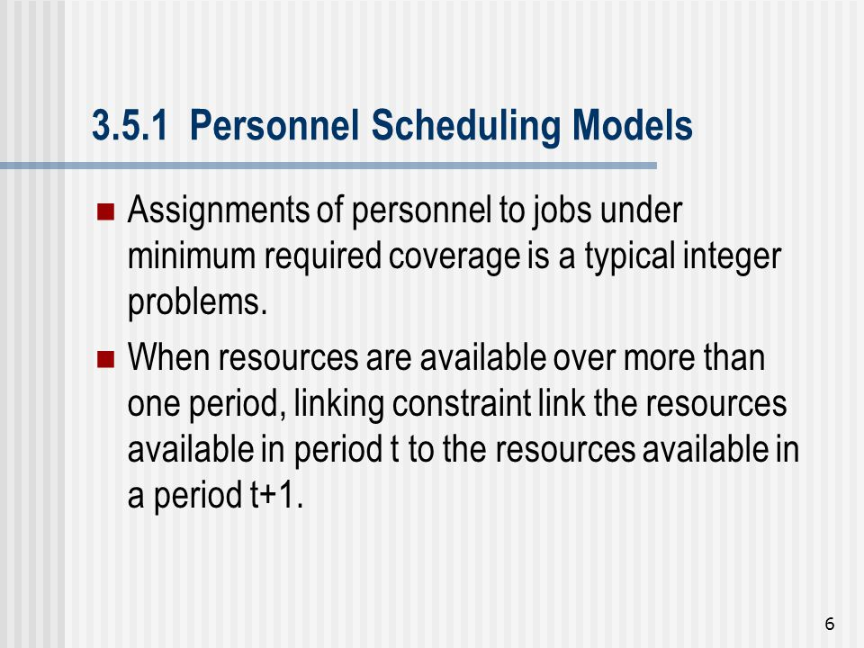 3.5.1 Personnel Scheduling Models