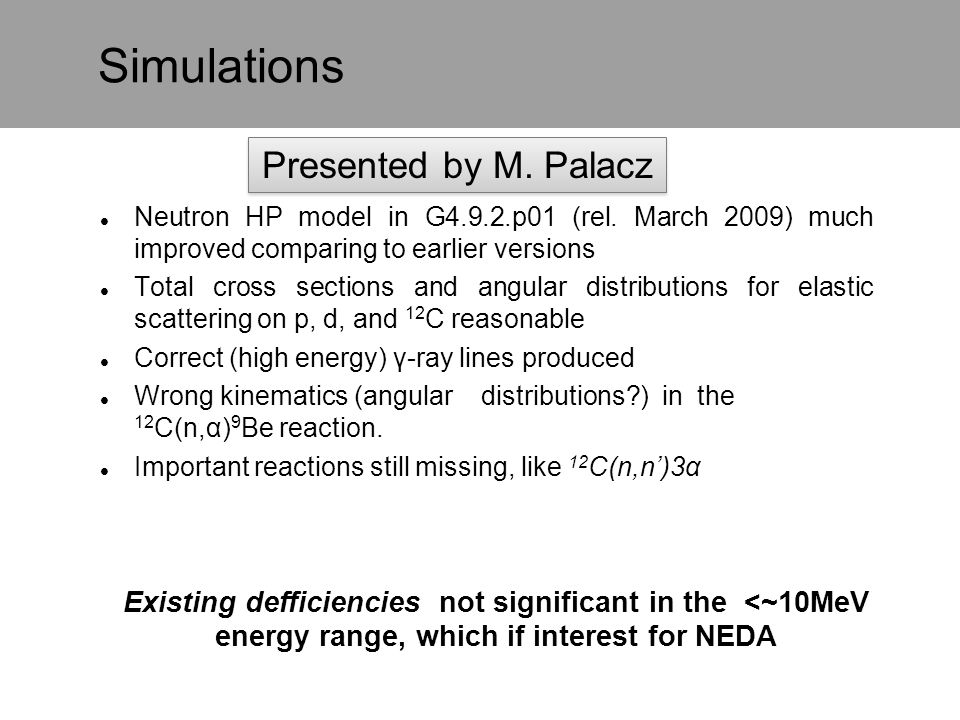Simulations Presented by M. Palacz