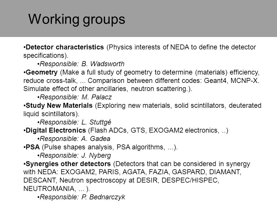 Working groups Detector characteristics (Physics interests of NEDA to define the detector specifications).