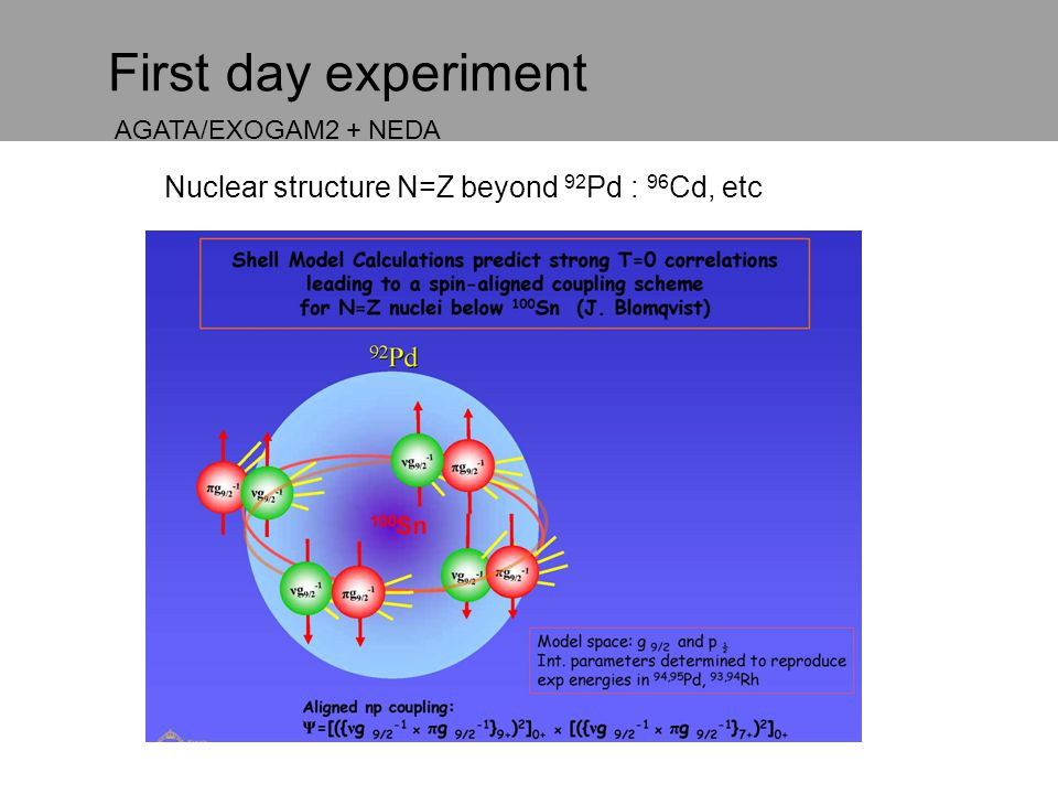 First day experiment Nuclear structure N=Z beyond 92Pd : 96Cd, etc