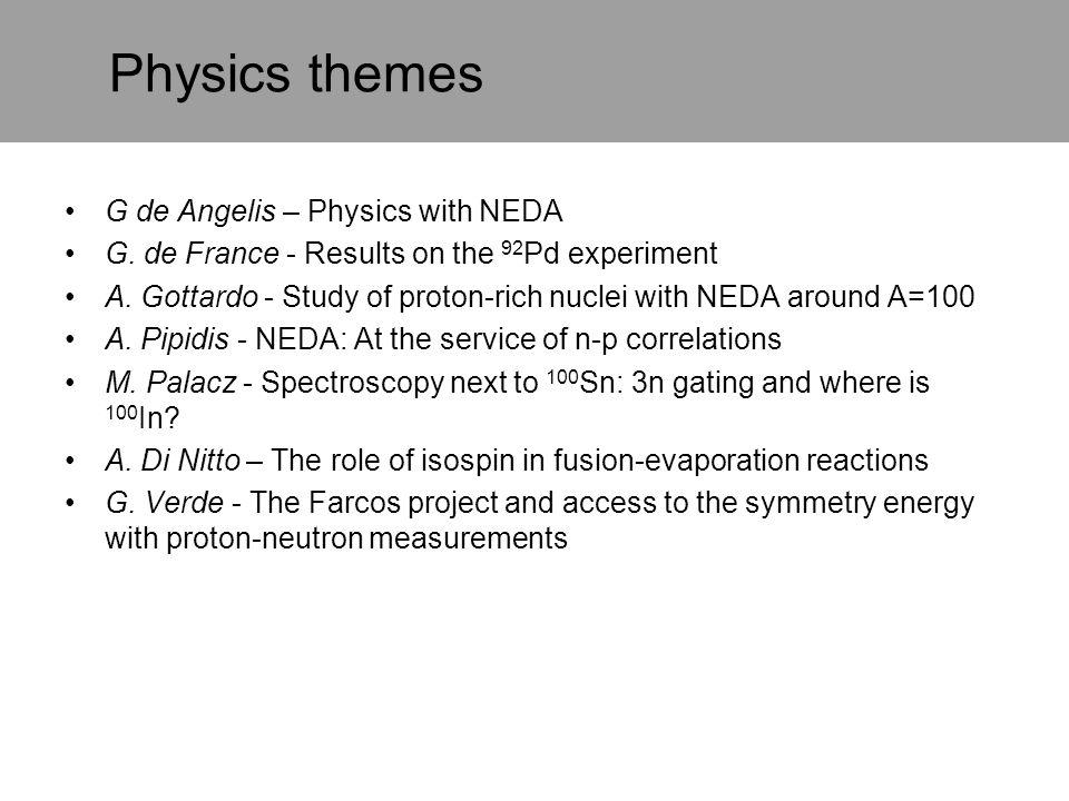 Physics themes G de Angelis – Physics with NEDA