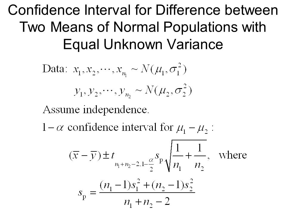 Confidence Interval for Difference between Two Means of Normal Populations with Equal Unknown Variance