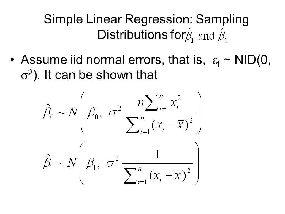 Simple Linear Regression: Sampling Distributions for