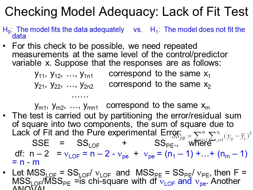 Checking Model Adequacy: Lack of Fit Test