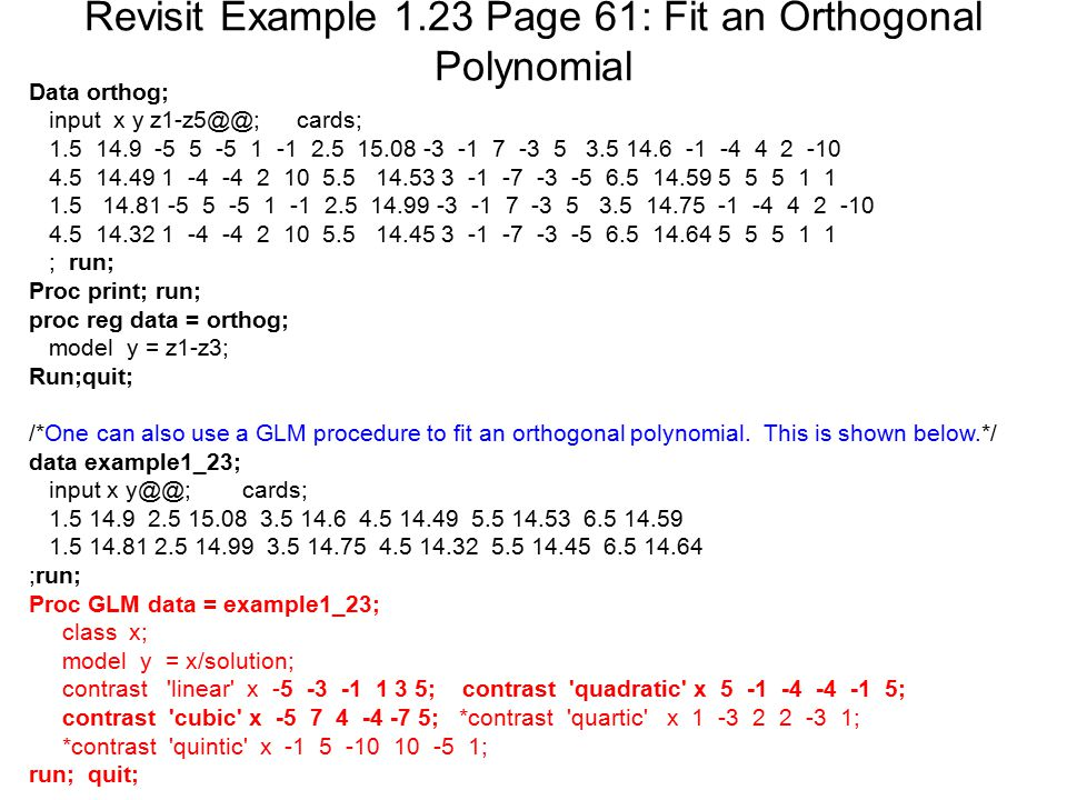 Revisit Example 1.23 Page 61: Fit an Orthogonal Polynomial