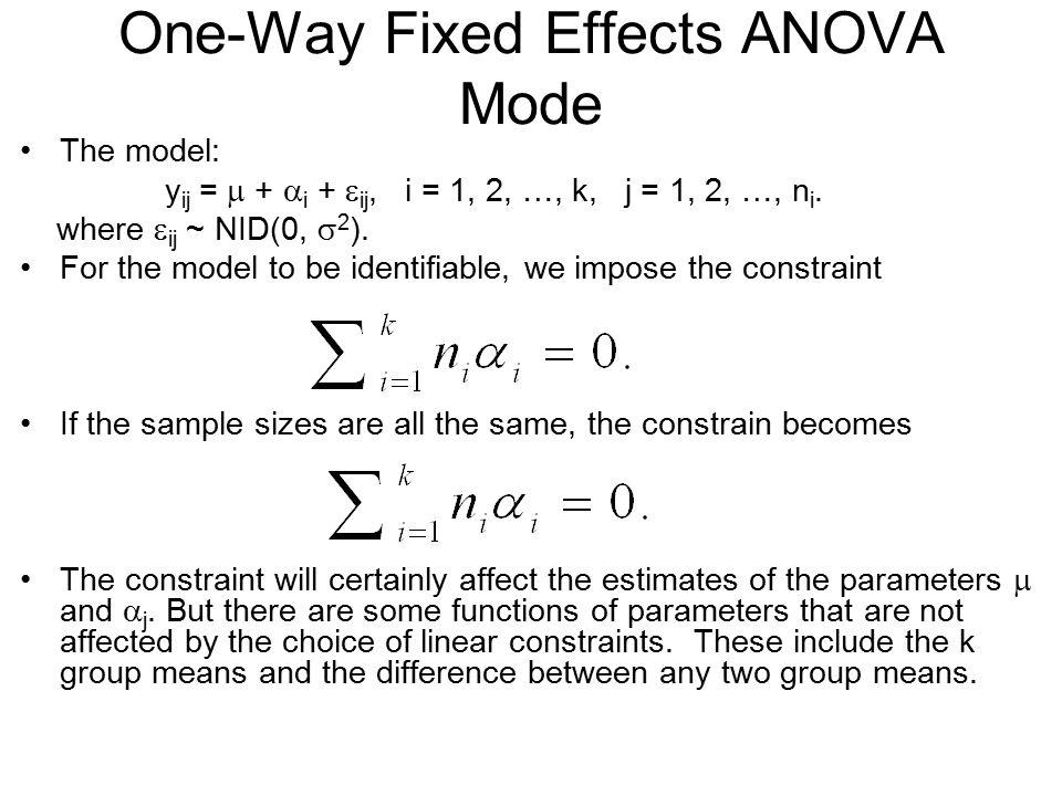 One-Way Fixed Effects ANOVA Mode