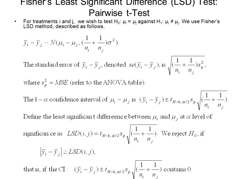 Fisher's Least Significant Difference (LSD) Test: Pairwise t-Test
