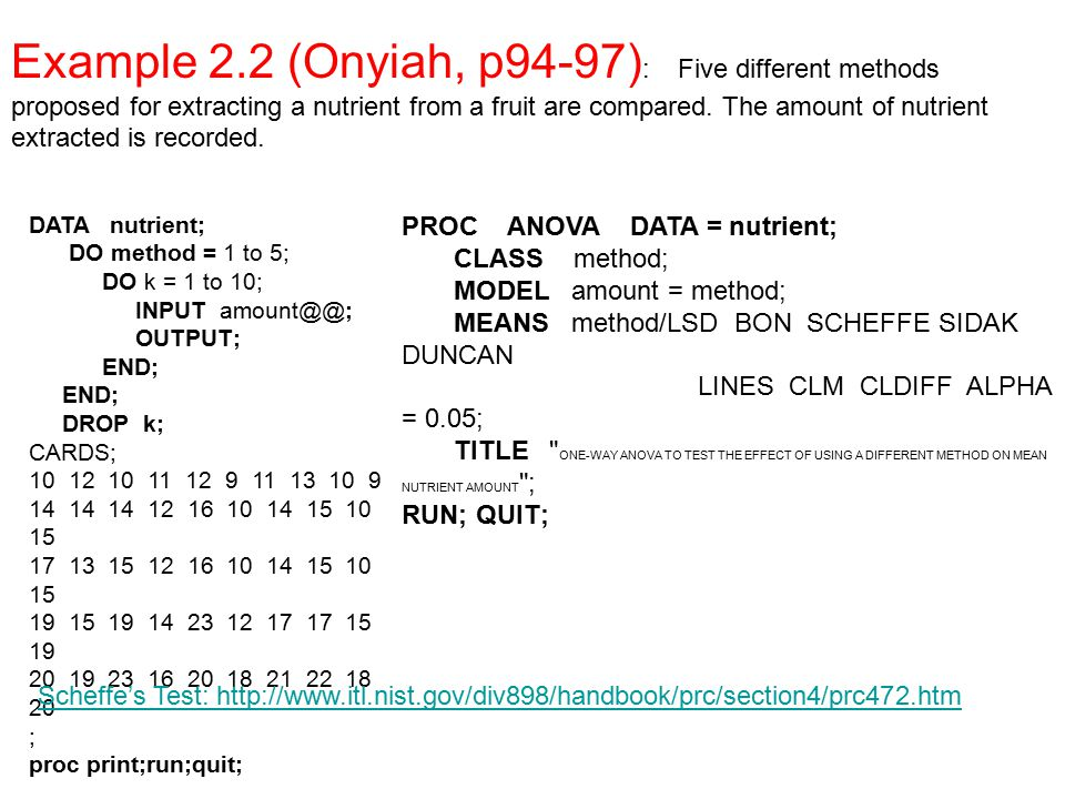Example 2.2 (Onyiah, p94-97): Five different methods proposed for extracting a nutrient from a fruit are compared. The amount of nutrient extracted is recorded.