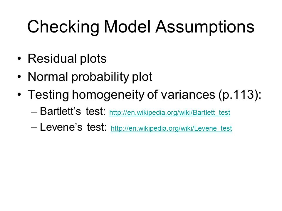 Checking Model Assumptions