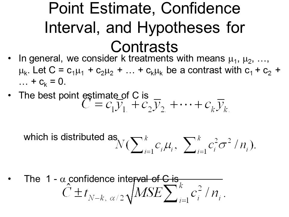Point Estimate, Confidence Interval, and Hypotheses for Contrasts