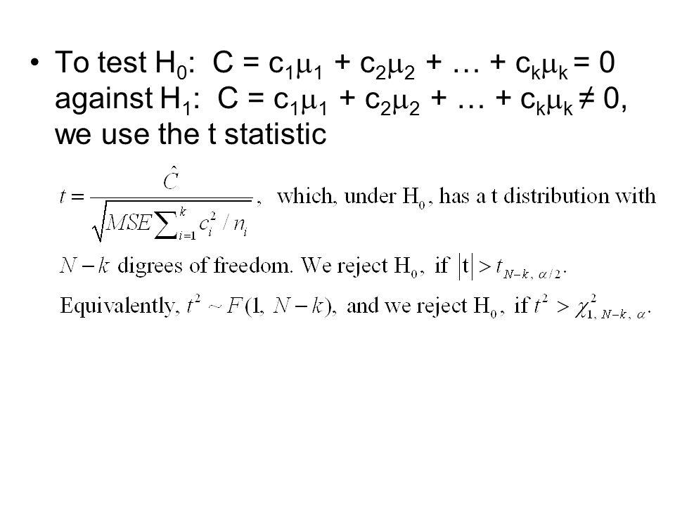 To test H0: C = c11 + c22 + … + ckk = 0 against H1: C = c11 + c22 + … + ckk ≠ 0, we use the t statistic