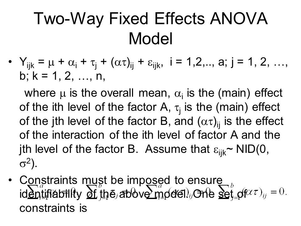 Two-Way Fixed Effects ANOVA Model