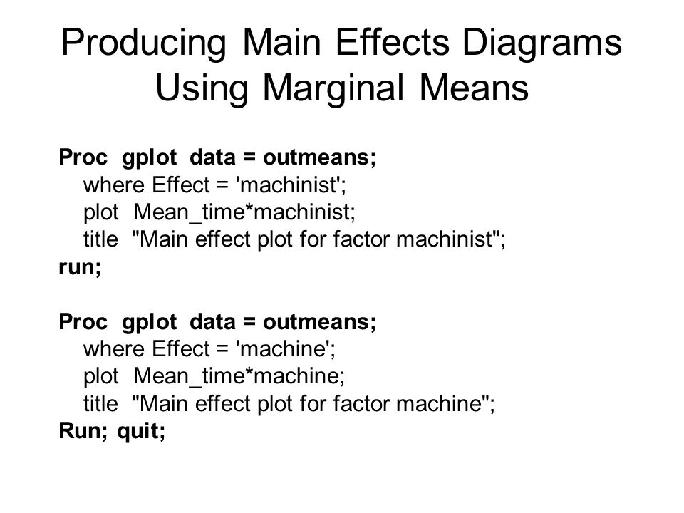 Producing Main Effects Diagrams Using Marginal Means