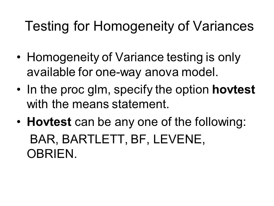 Testing for Homogeneity of Variances