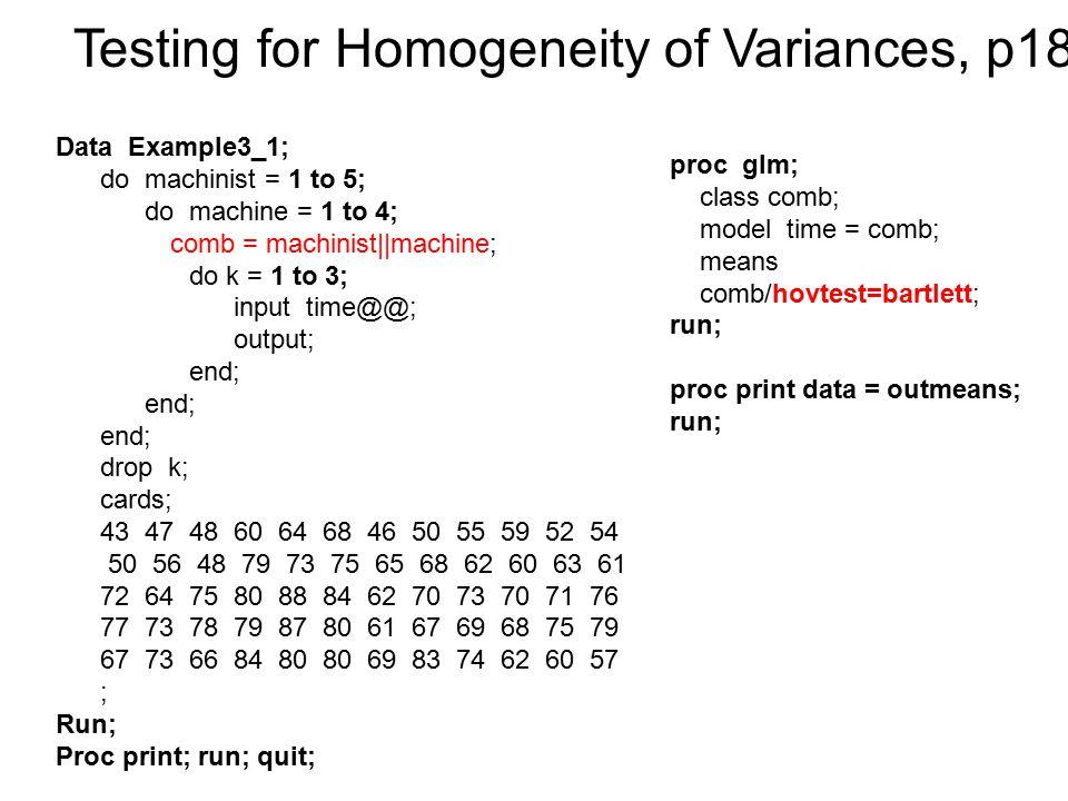Testing for Homogeneity of Variances, p180
