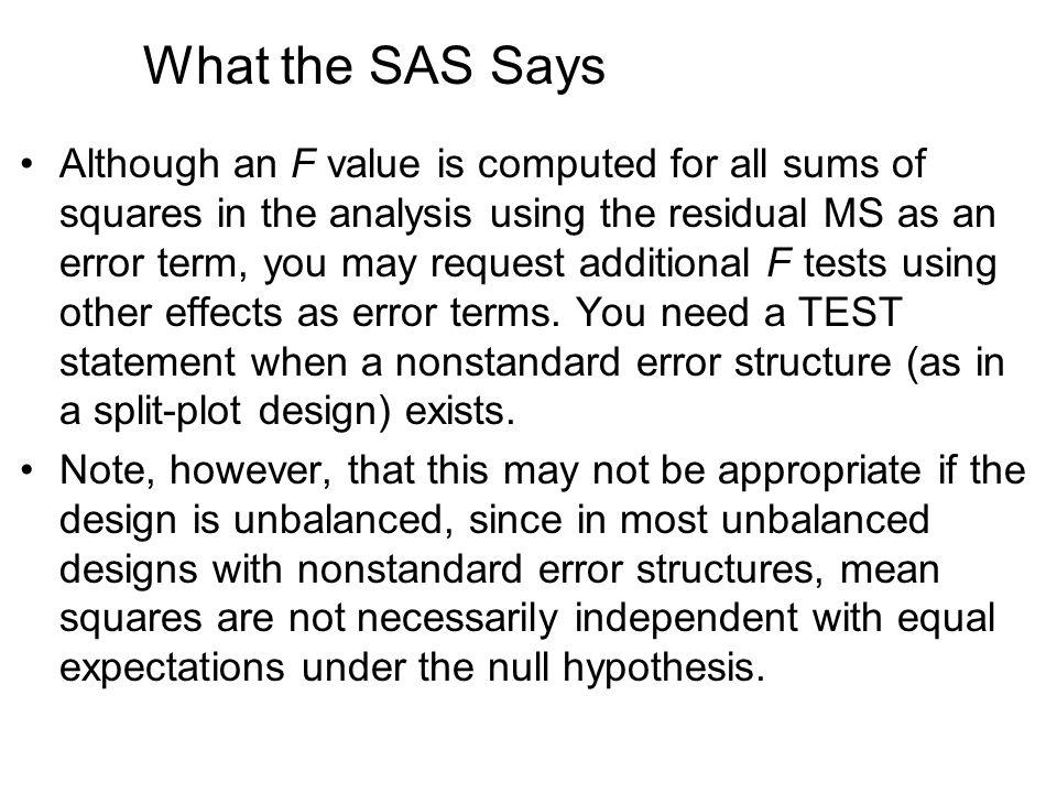 What the SAS Says