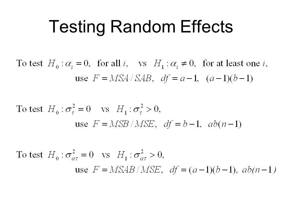 Testing Random Effects